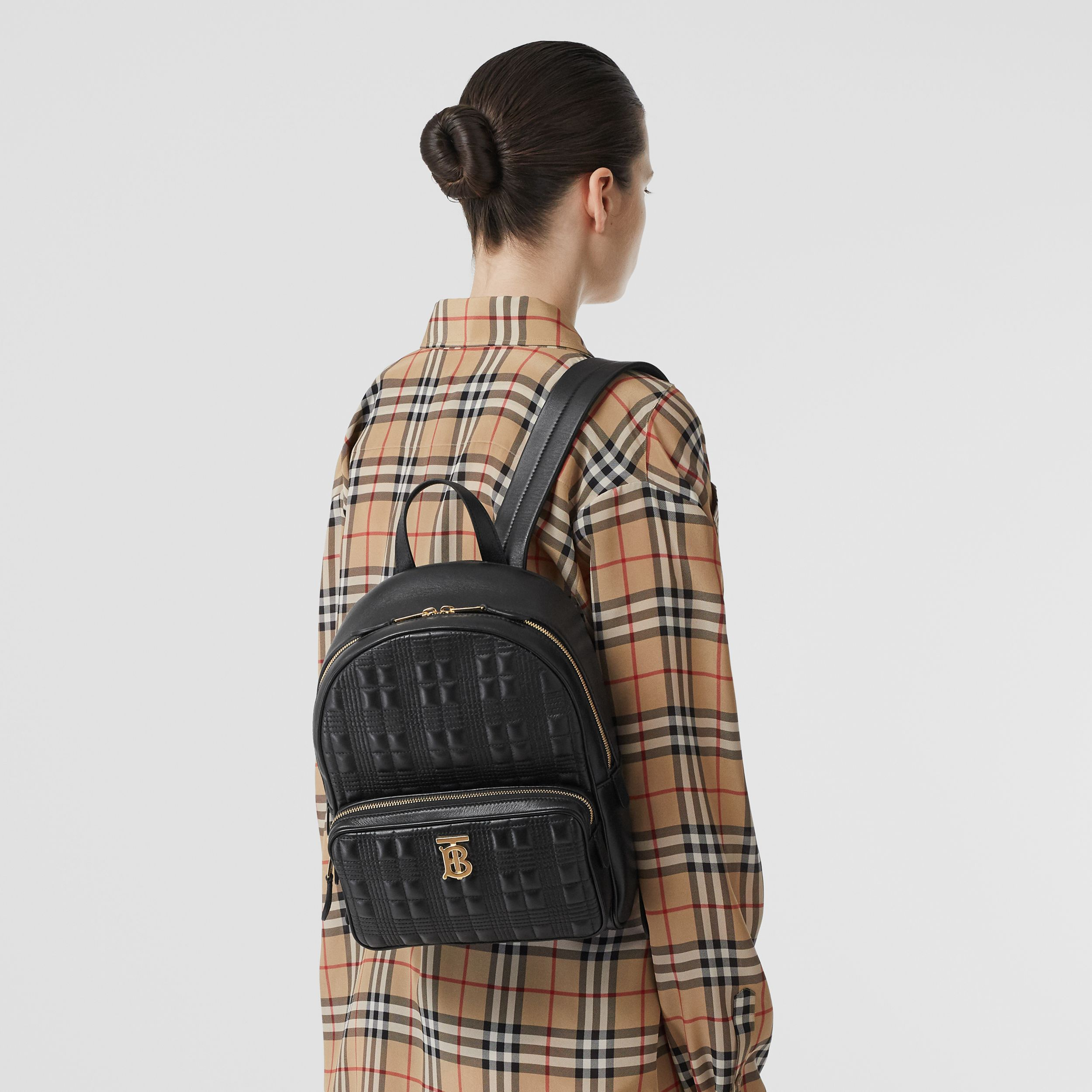 Quilted Check Lambskin Backpack in Black - Women | Burberry - 3