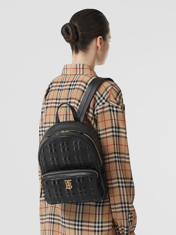 Quilted Check Lambskin Backpack in Black - Women | Burberry United Kingdom - cell image 2