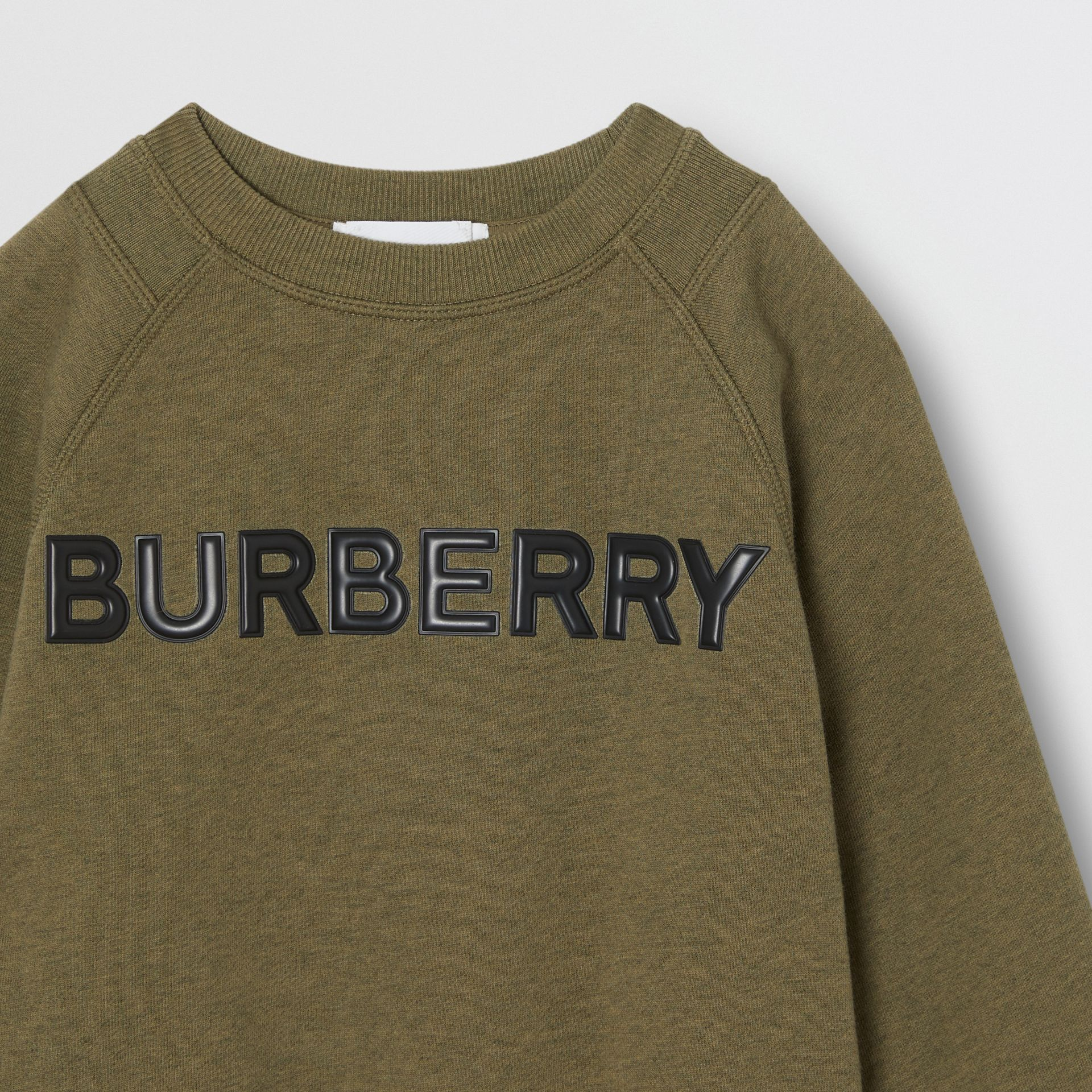 Logo Detail Cotton Sweatshirt in Military Olive | Burberry United Kingdom - gallery image 4
