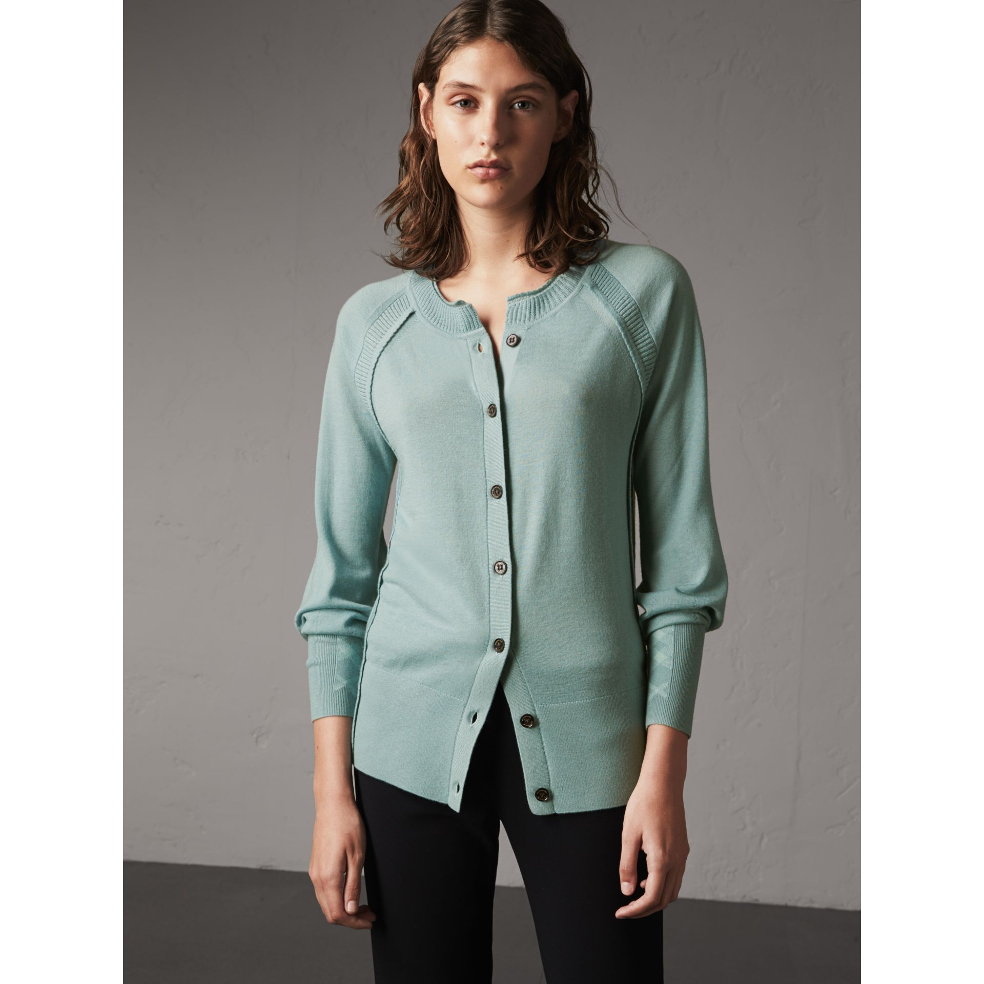 Open-knit Detail Cashmere Cardigan in Eucalyptus Green - Women | Burberry - gallery image 5