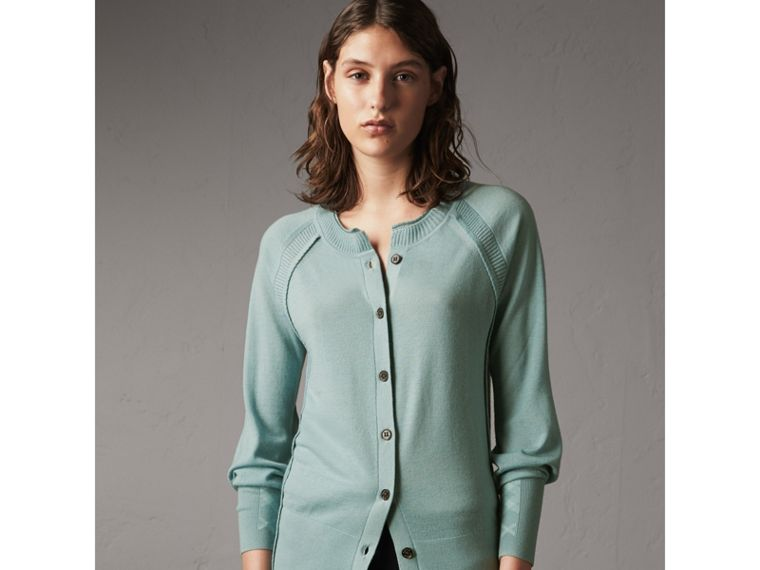 Open-knit Detail Cashmere Cardigan in Eucalyptus Green - Women | Burberry Australia - cell image 4