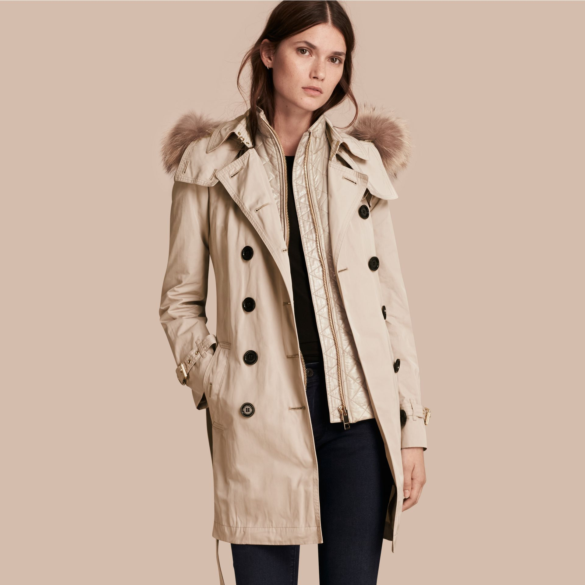 Stone Raccoon Fur Trim Hood Trench Coat with Gilet - gallery image 1