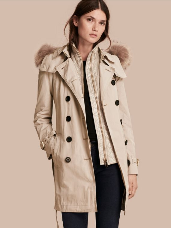 Raccoon Fur Trim Hood Trench Coat with Gilet