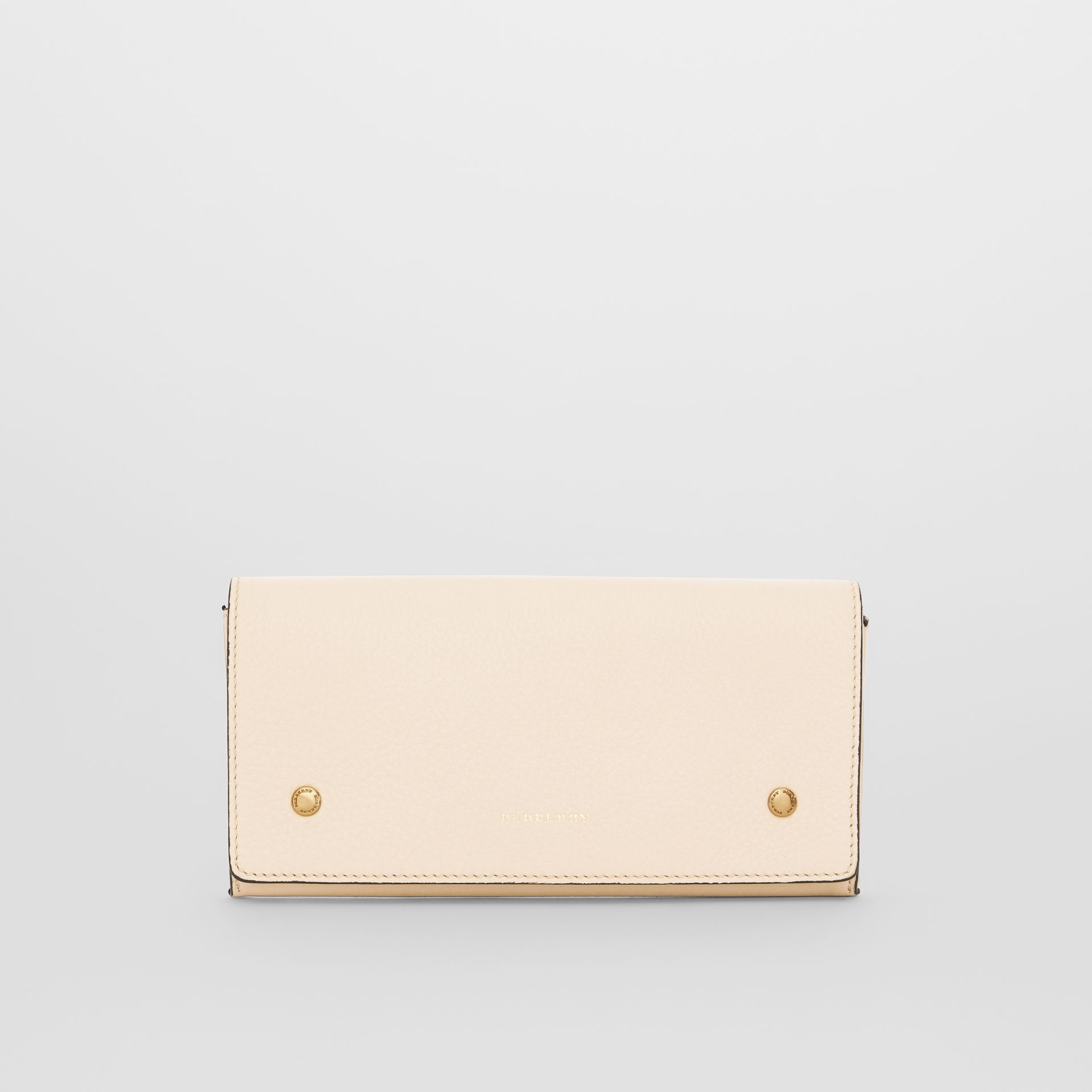 Two-tone Leather Continental Wallet in Limestone - Women | Burberry United States - gallery image 0