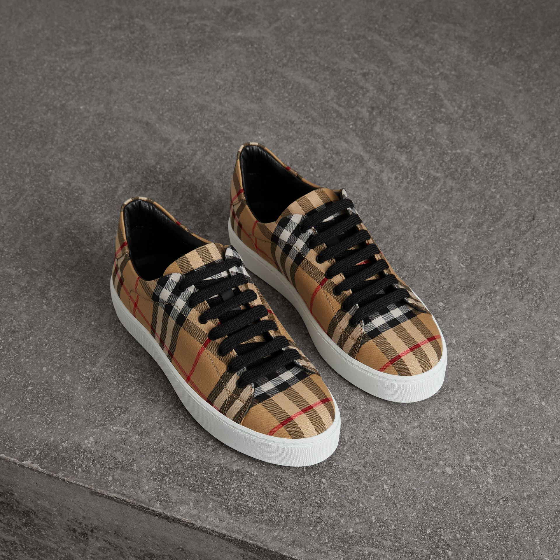Vintage Check and Leather Sneakers in Antique Yellow - Women | Burberry Hong Kong - gallery image 0