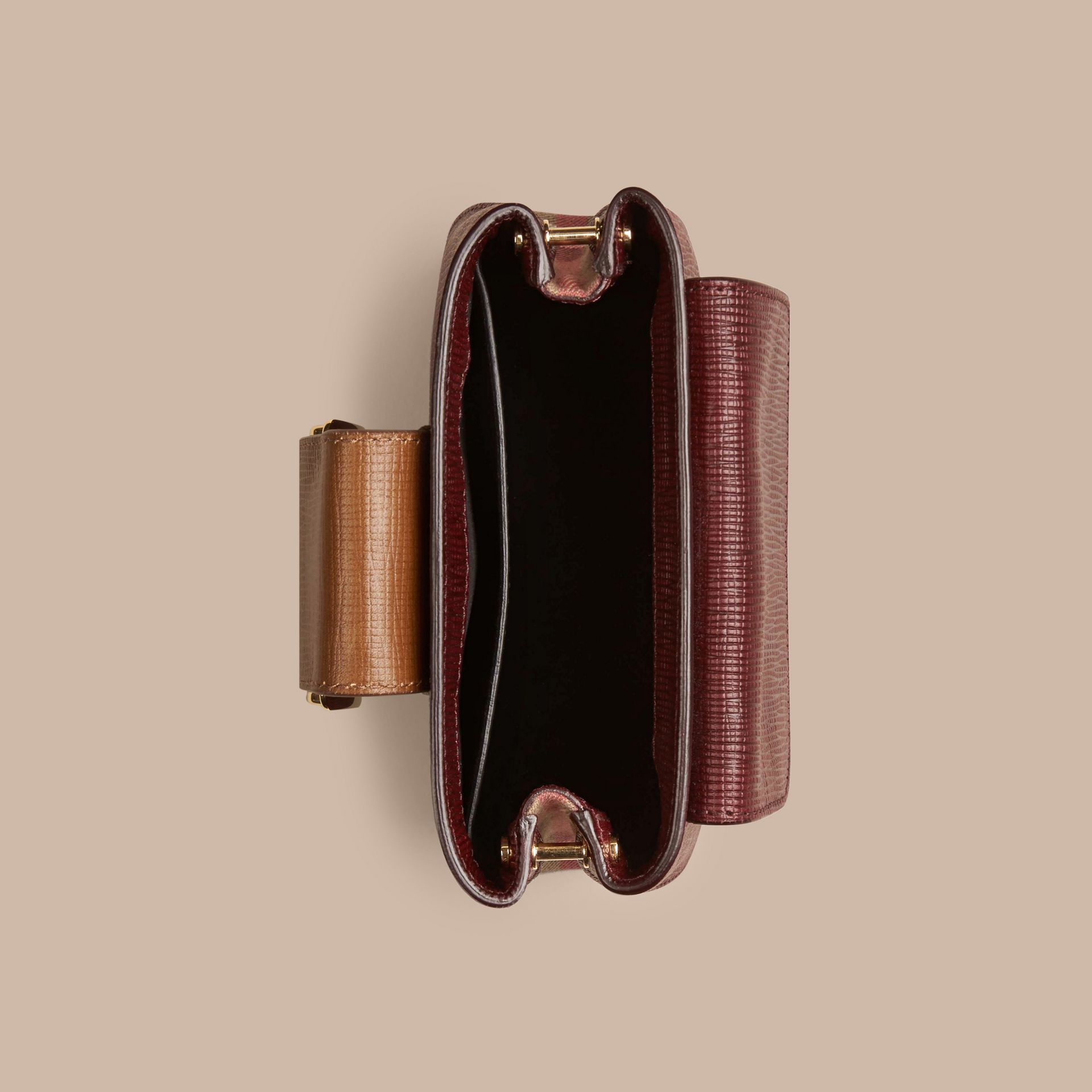 Burgundy The Small Square Buckle Bag in Leather and House Check Burgundy - gallery image 5