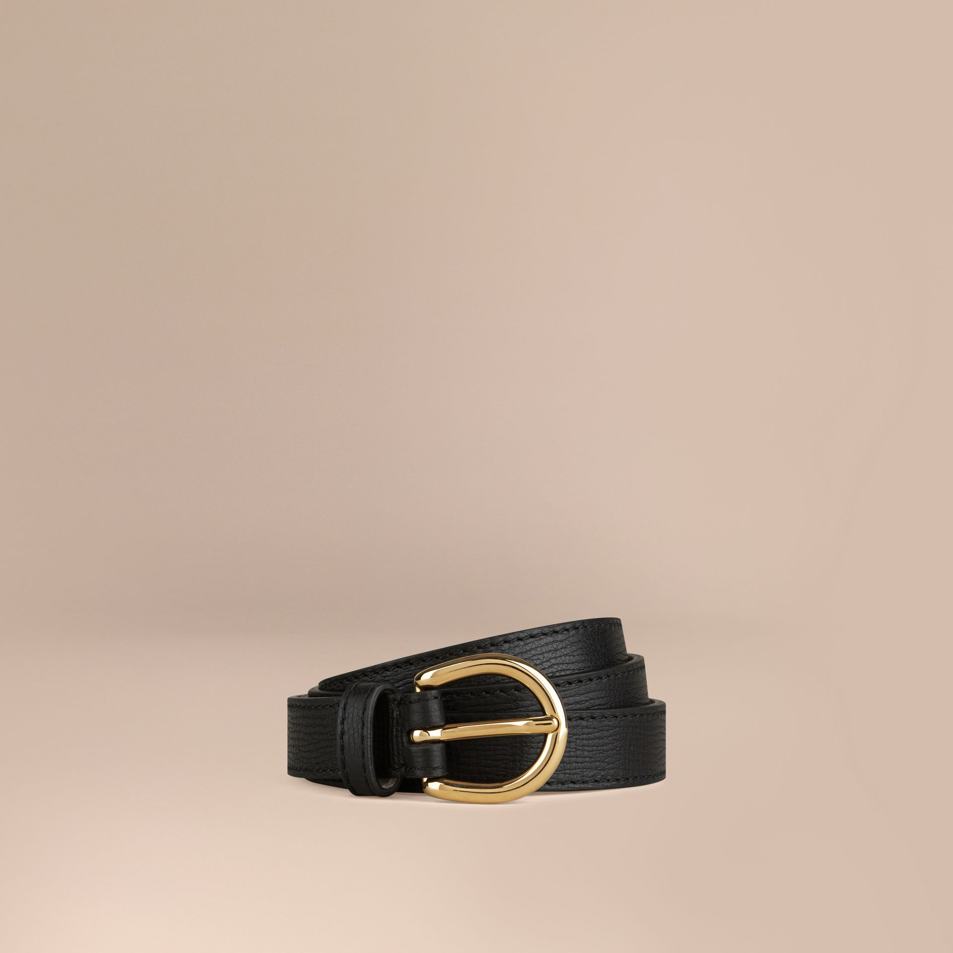 Black Grainy Leather Belt Black - gallery image 1