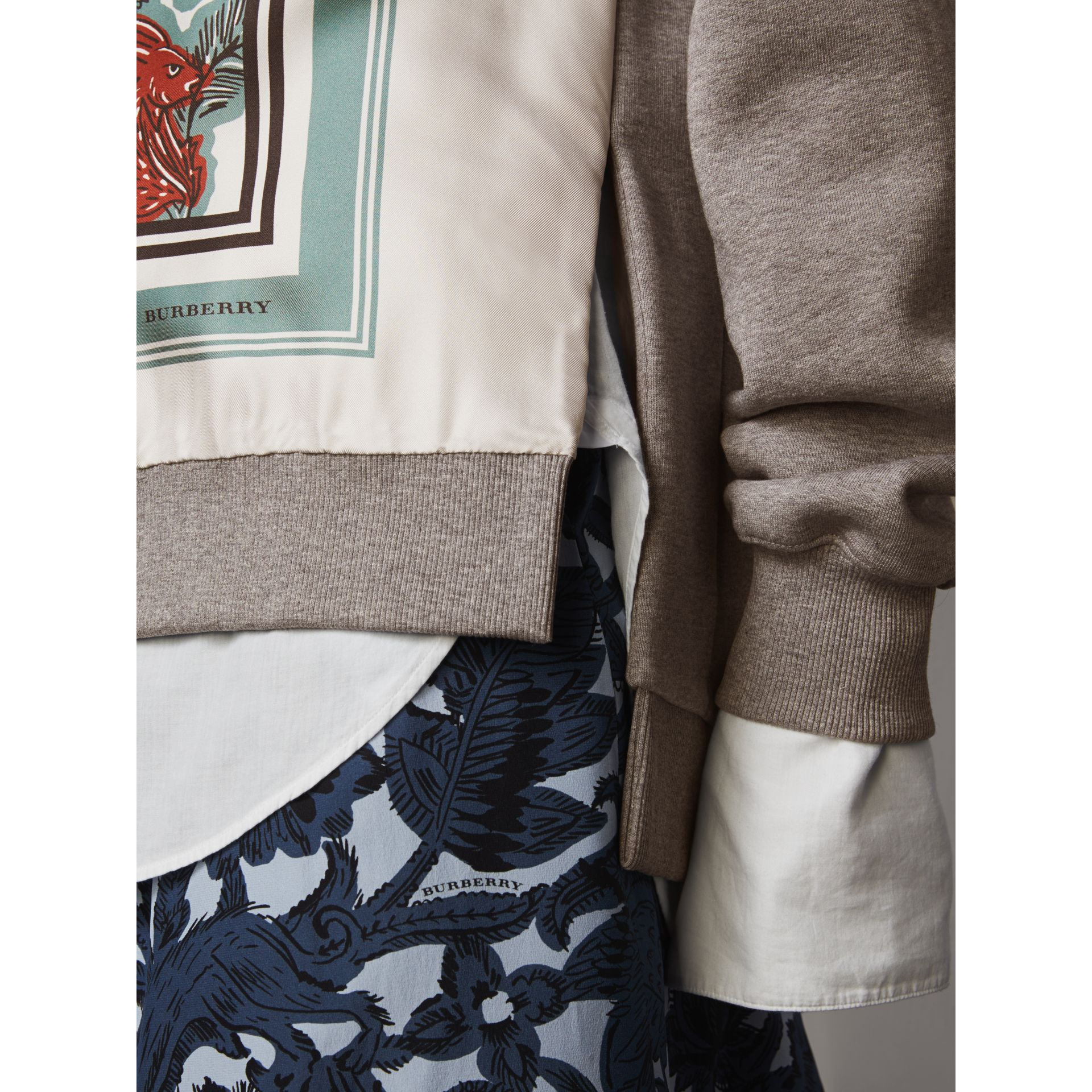 Beasts Print Silk Panel Jersey Sweatshirt in Pale Grey Melange - Women | Burberry - gallery image 2