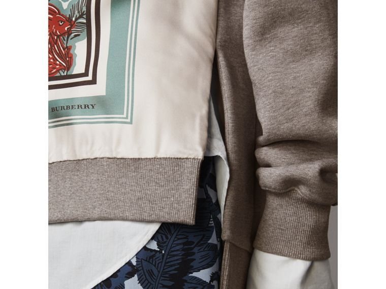 Beasts Print Silk Panel Jersey Sweatshirt in Pale Grey Melange - Women | Burberry - cell image 1
