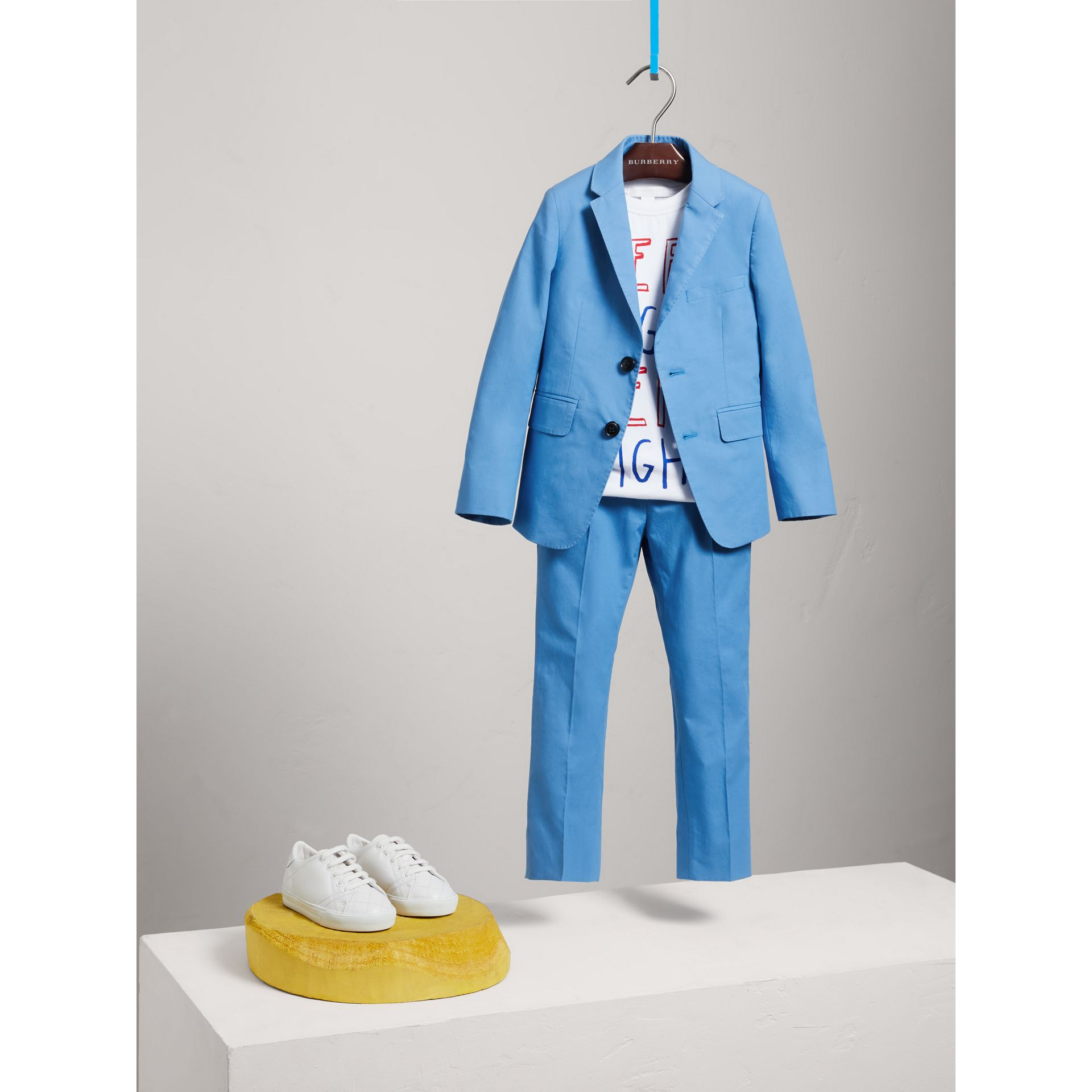 Cotton Poplin Blazer in Azure Blue - Children | Burberry - gallery image 2