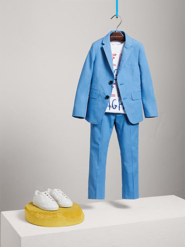 Cotton Poplin Blazer in Azure Blue - Children | Burberry - cell image 2