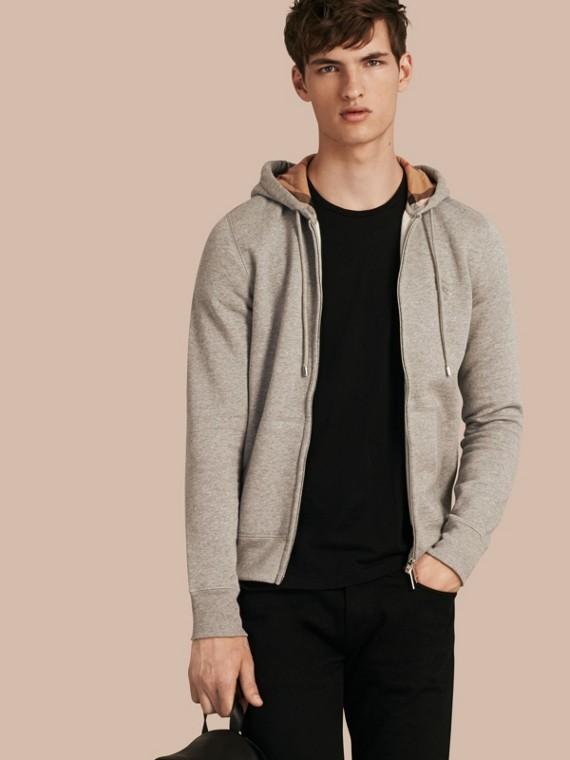 Haut en jersey de coton à capuche Camaïeu  Gris Pâles