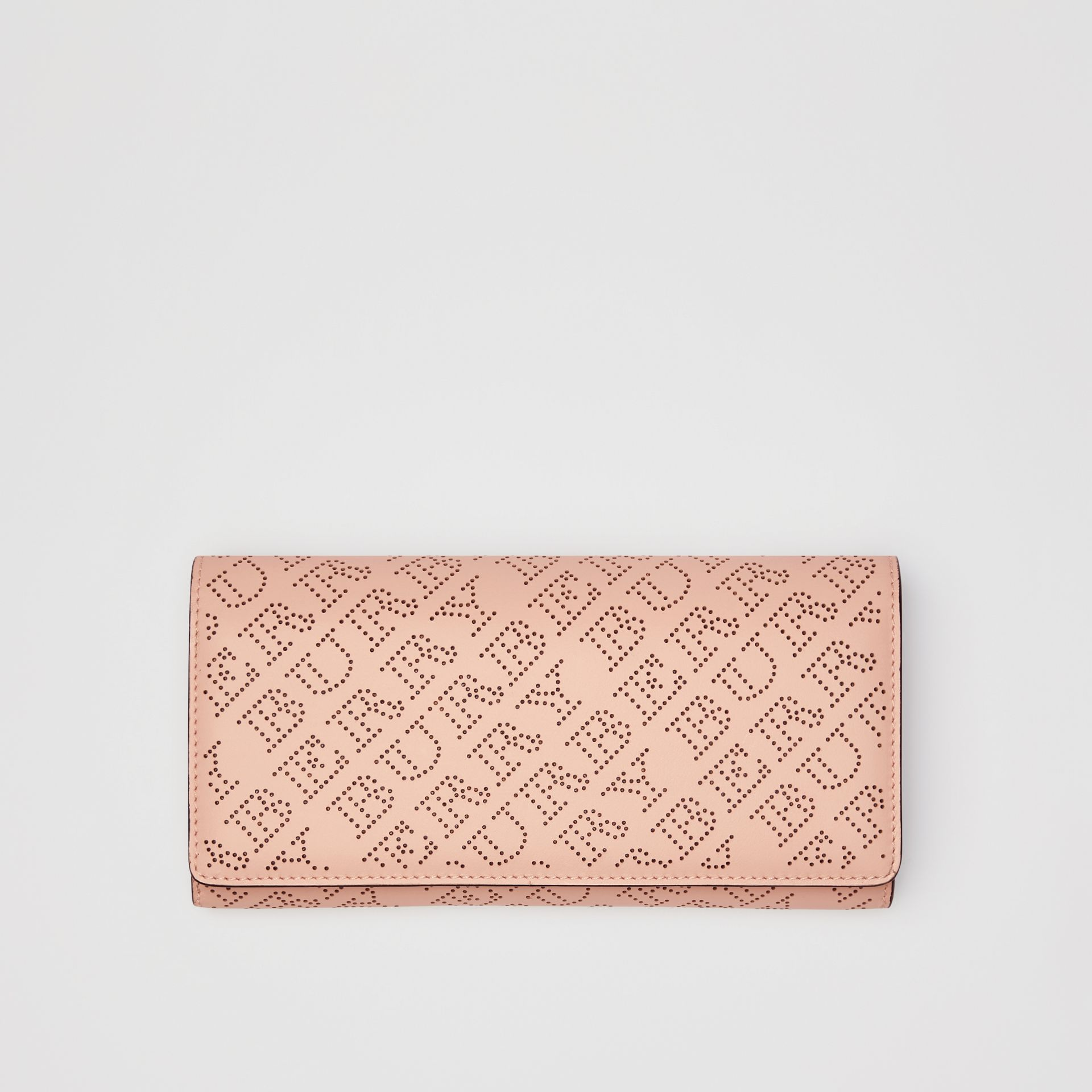 Perforated Logo Leather Wallet with Detachable Strap in Pale Fawn Pink - Women | Burberry - gallery image 5