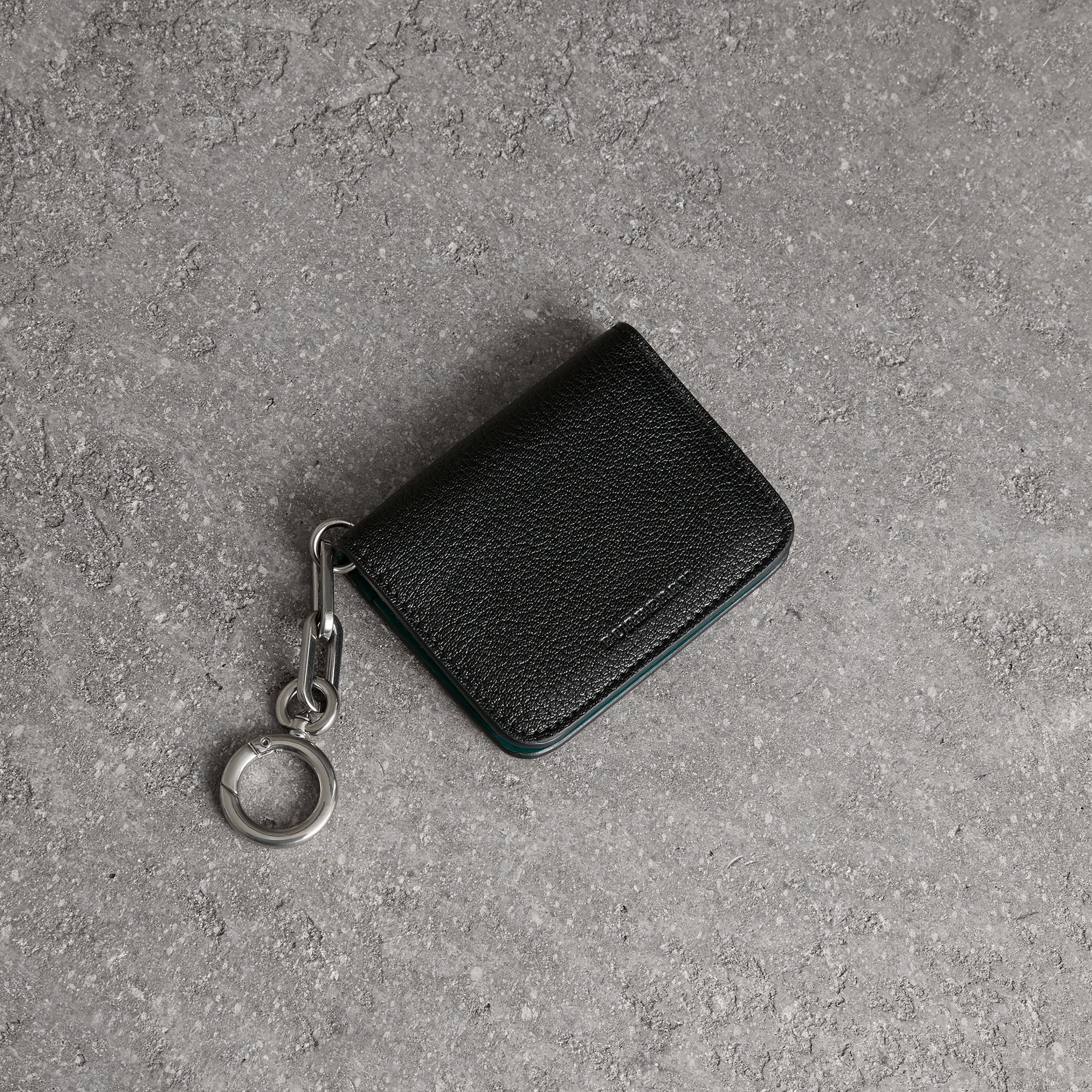 Link Detail Leather ID Card Case Charm in Black | Burberry - gallery image 0