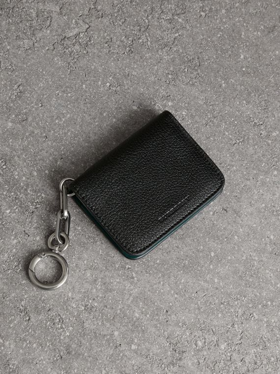 Link Detail Leather ID Card Case Charm in Black