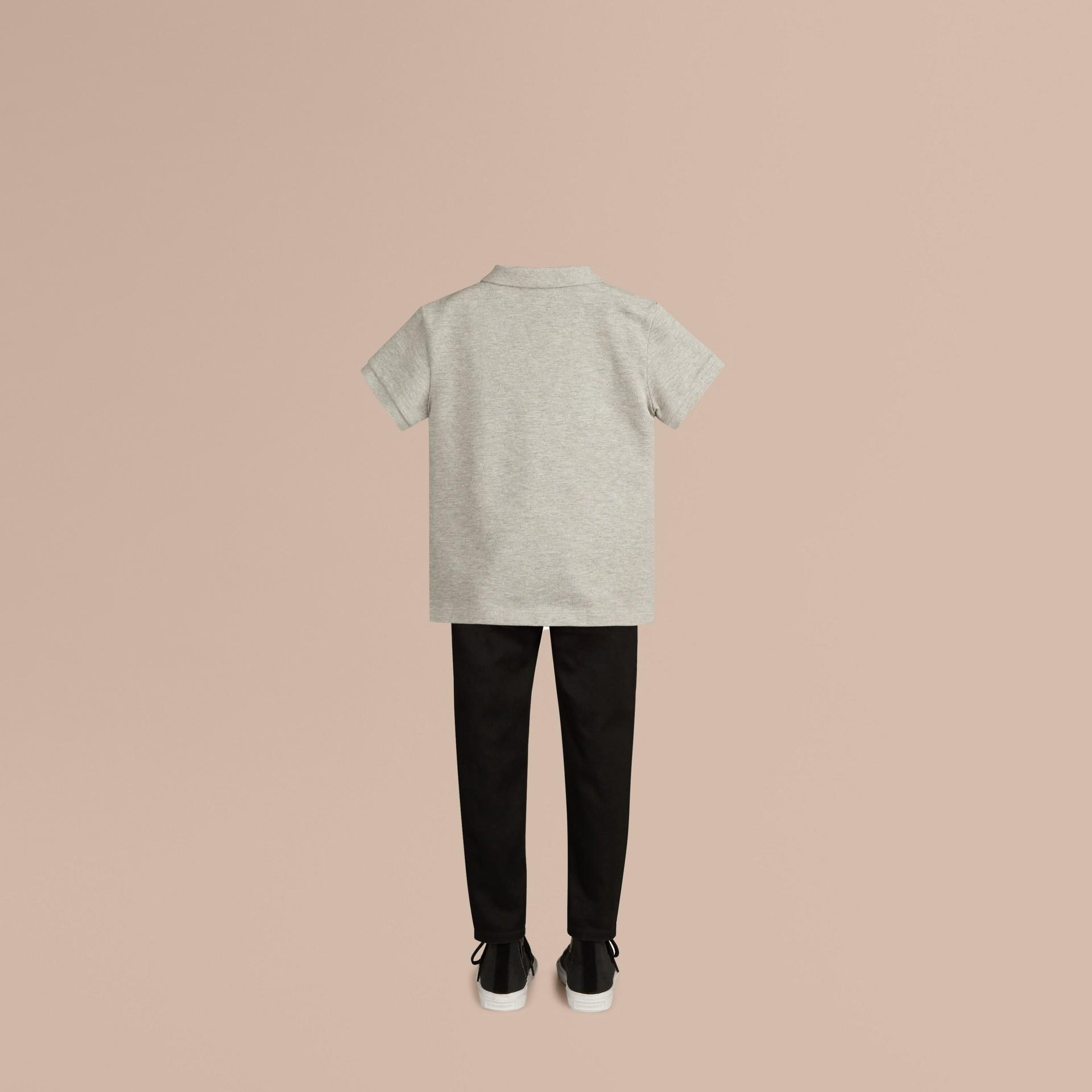 Pale grey melange Check Placket Polo Shirt Pale Grey Melange - gallery image 3