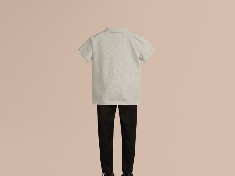 Pale grey melange Check Placket Polo Shirt Pale Grey Melange - cell image 2