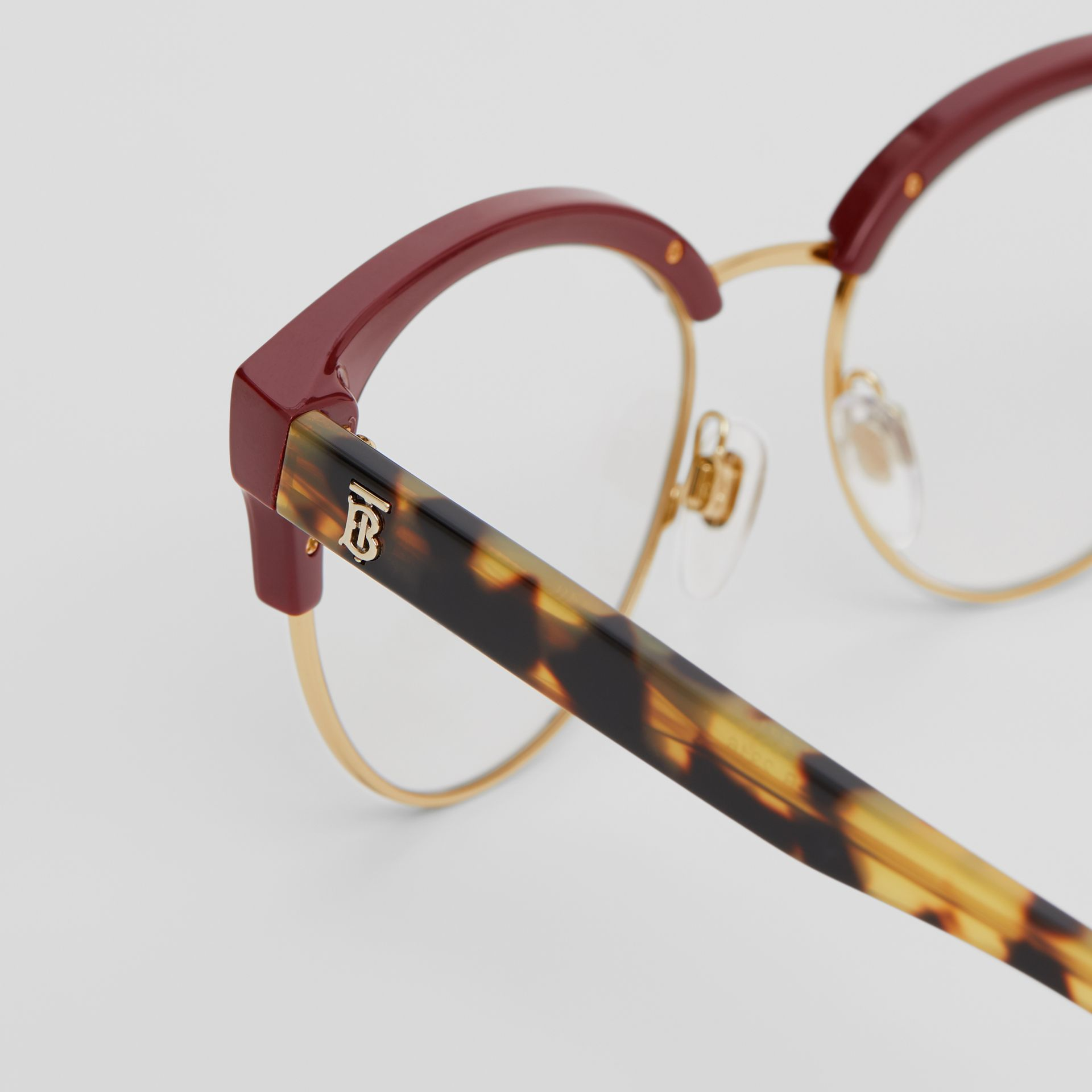 Cat-eye Optical Frames in Burgundy - Women | Burberry Australia - gallery image 1