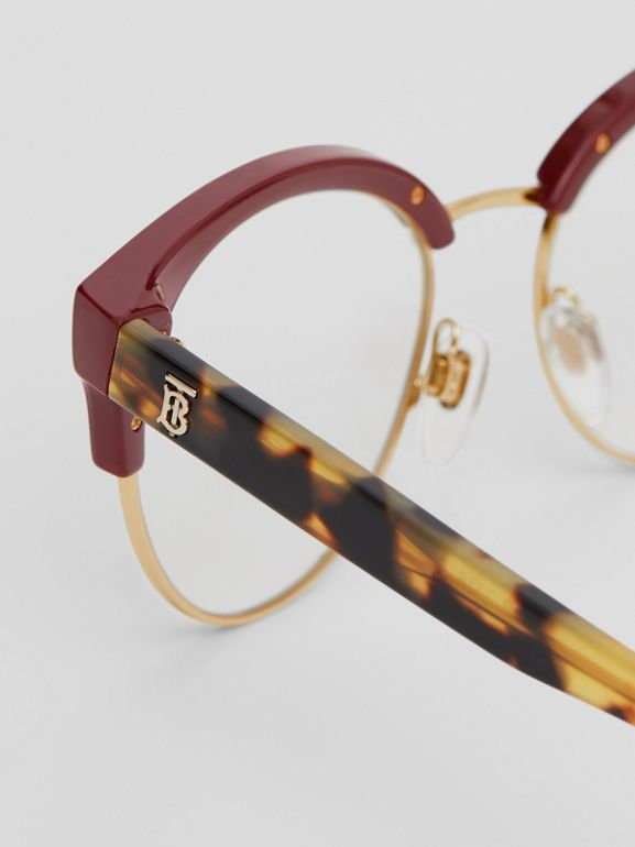 Cat-eye Optical Frames in Burgundy - Women | Burberry Australia - cell image 1
