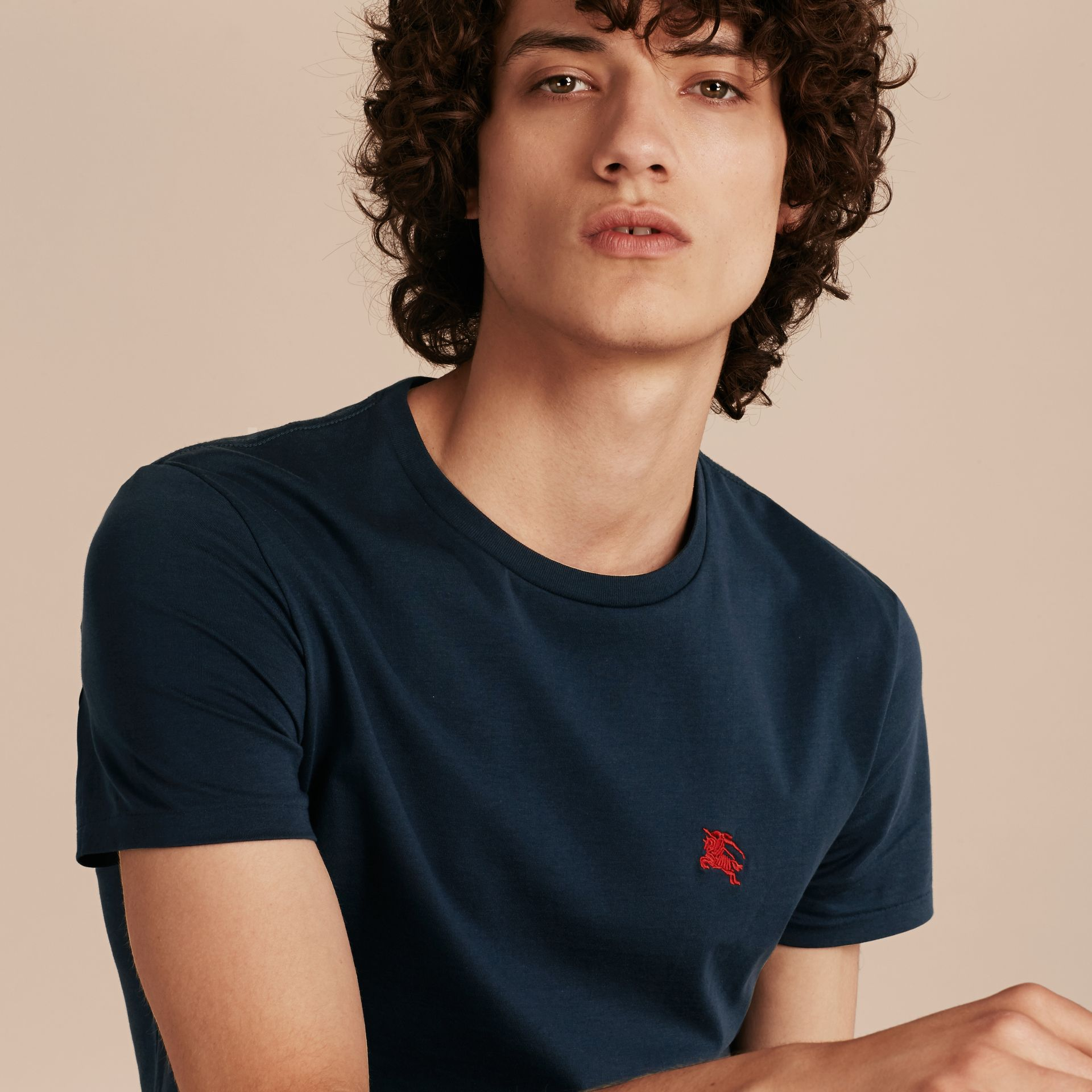 Cotton Jersey T-shirt in Navy - Men | Burberry - gallery image 6
