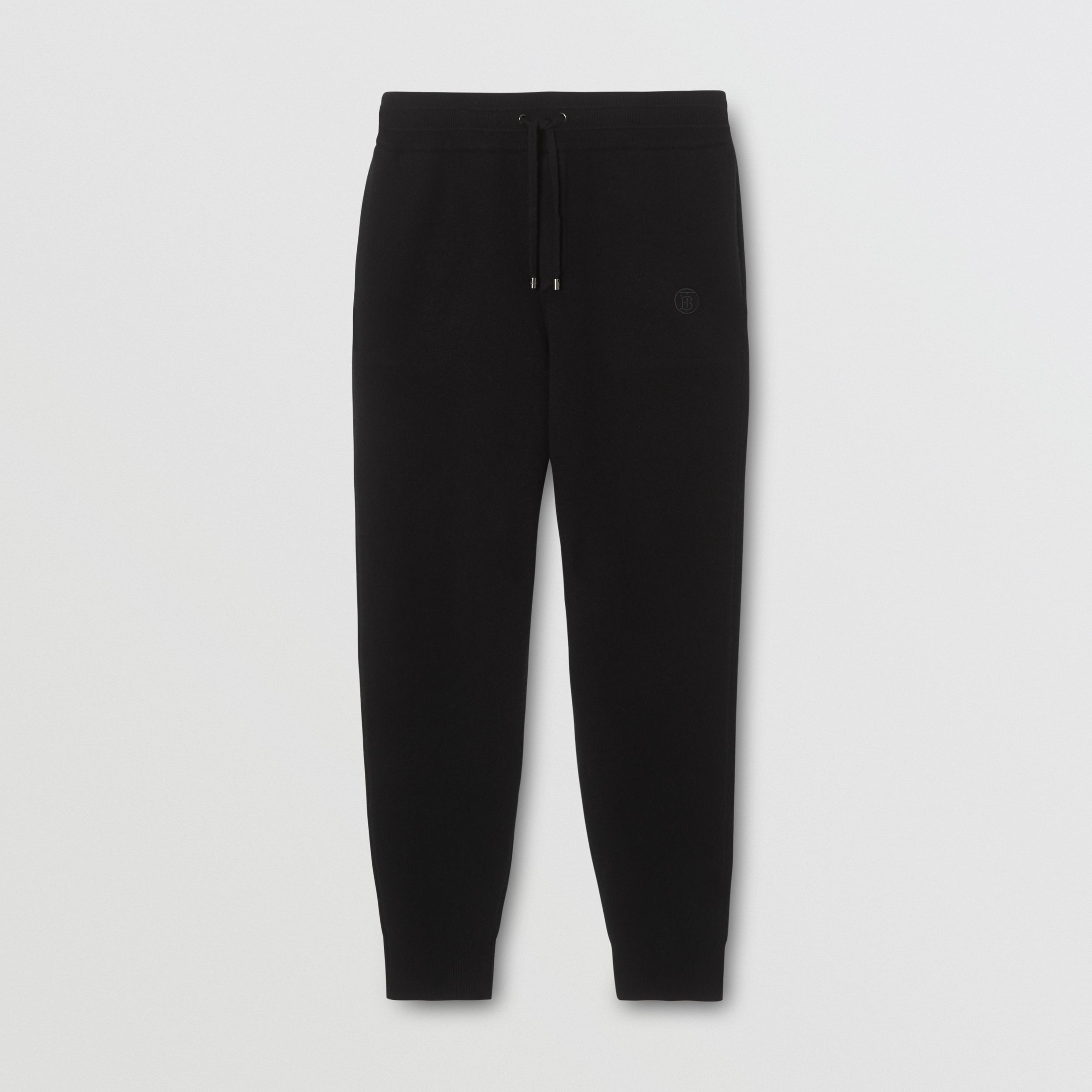 Monogram Motif Cashmere Blend Trackpants in Black - Men | Burberry - 4