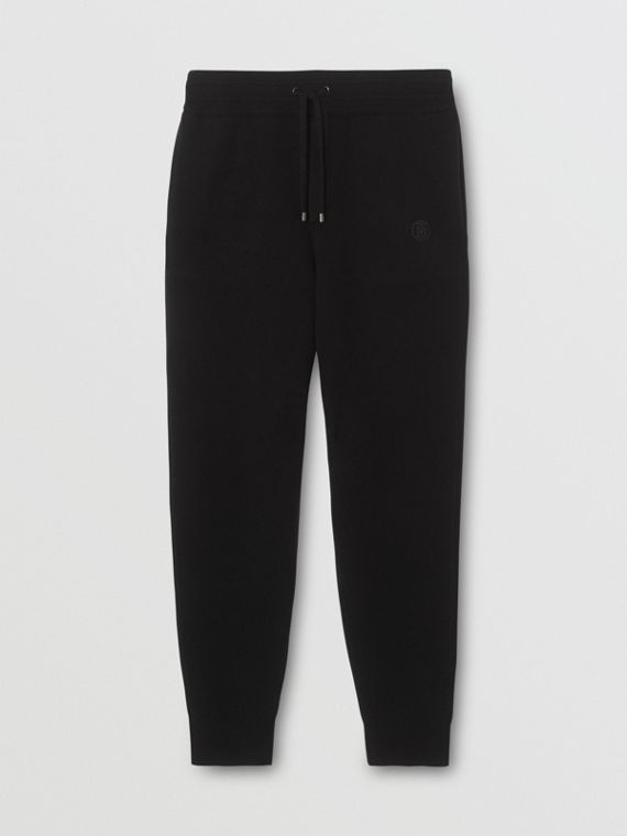 Monogram Motif Cashmere Blend Trackpants in Black