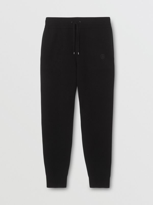 Monogram Motif Cashmere Blend Trackpants in Black - Men | Burberry - cell image 3