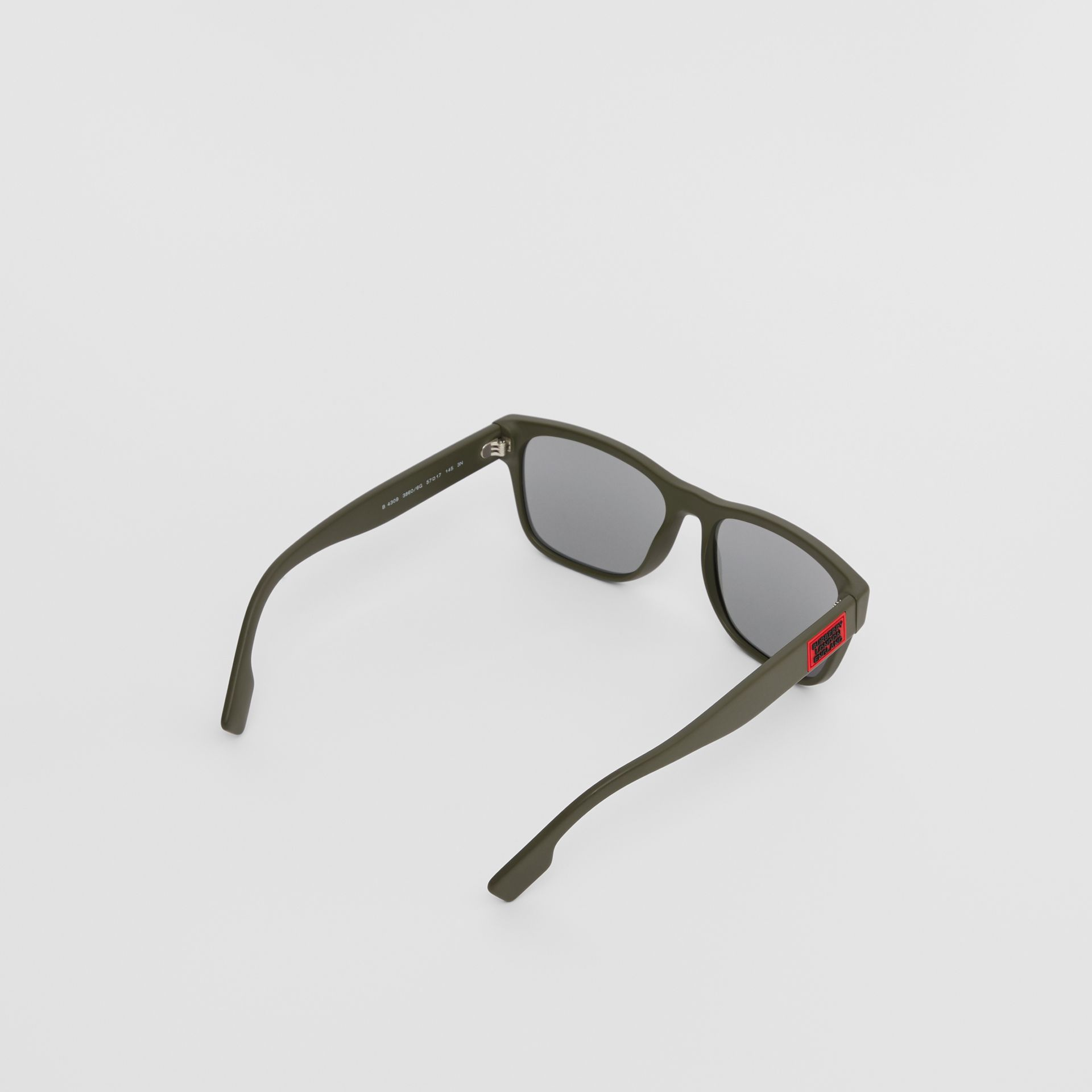 Logo Appliqué Square Frame Sunglasses in Military Green - Men | Burberry Australia - gallery image 3
