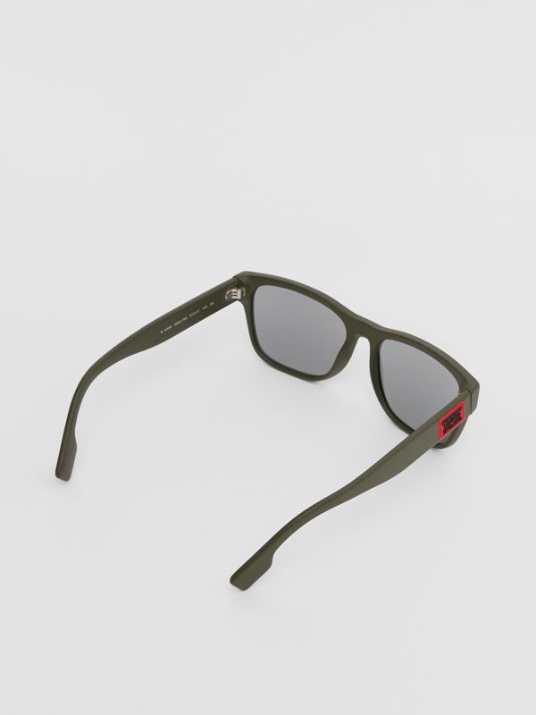 Logo Appliqué Square Frame Sunglasses in Military Green - Men | Burberry Australia - cell image 3