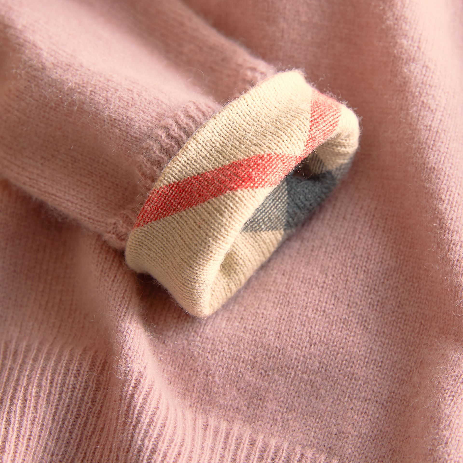 Check Detail Cashmere Sweater in Dusty Pink - Girl | Burberry - gallery image 2