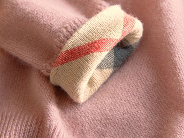 Check Detail Cashmere Sweater in Dusty Pink - Girl | Burberry Canada - cell image 1