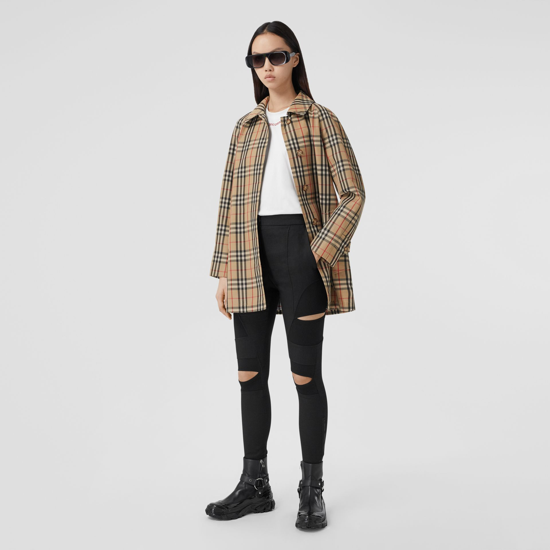 Vintage Check Recycled Polyester Car Coat in Archive Beige - Women | Burberry United States - gallery image 6