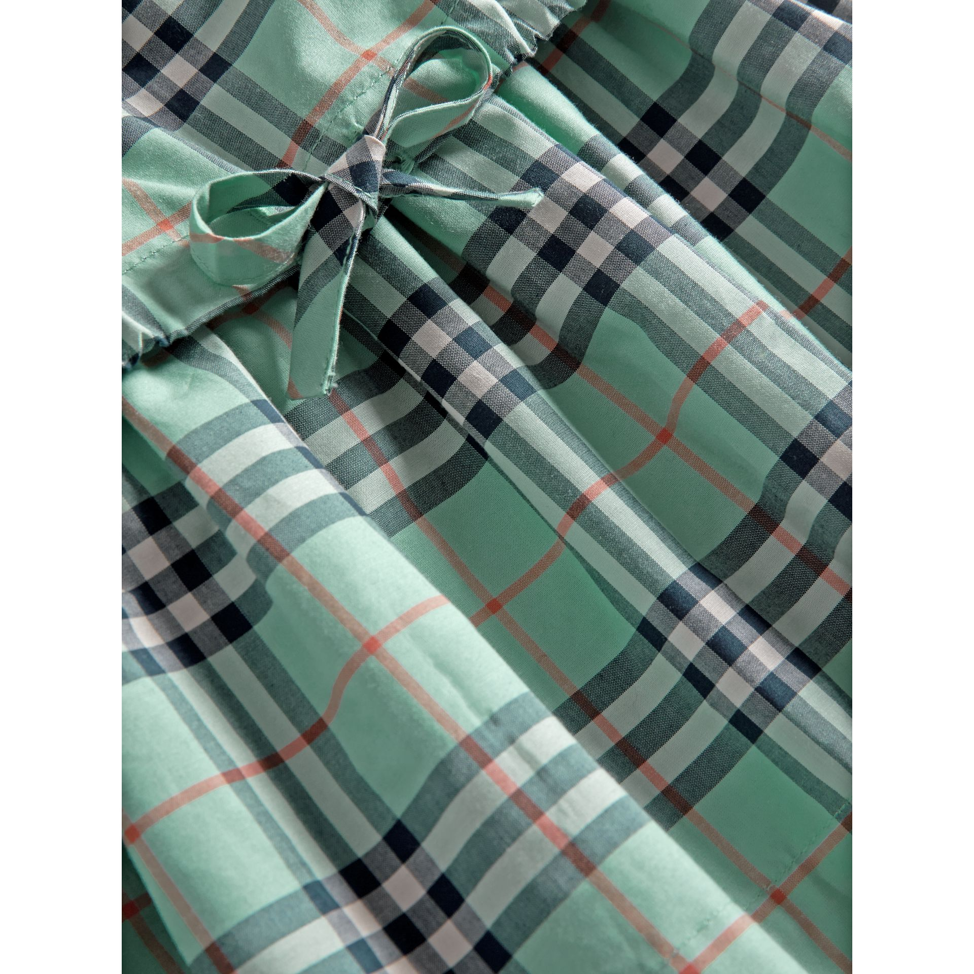 Gathered Check Cotton Dress in Bright Aqua - Children | Burberry - gallery image 1