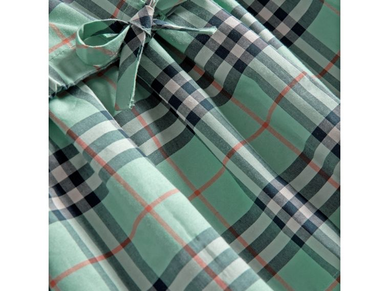 Gathered Check Cotton Dress in Bright Aqua | Burberry United Kingdom - cell image 1