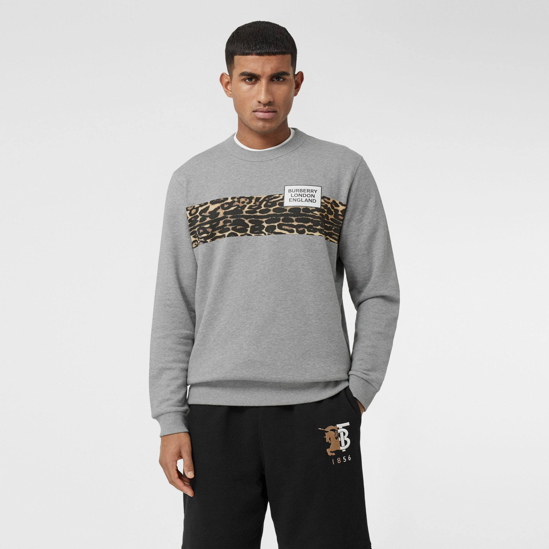 Montage Print Cotton Sweatshirt in Pale Grey Melange - Men | Burberry - gallery image 0