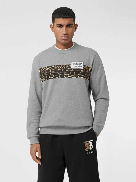 Montage Print Cotton Sweatshirt in Pale Grey Melange