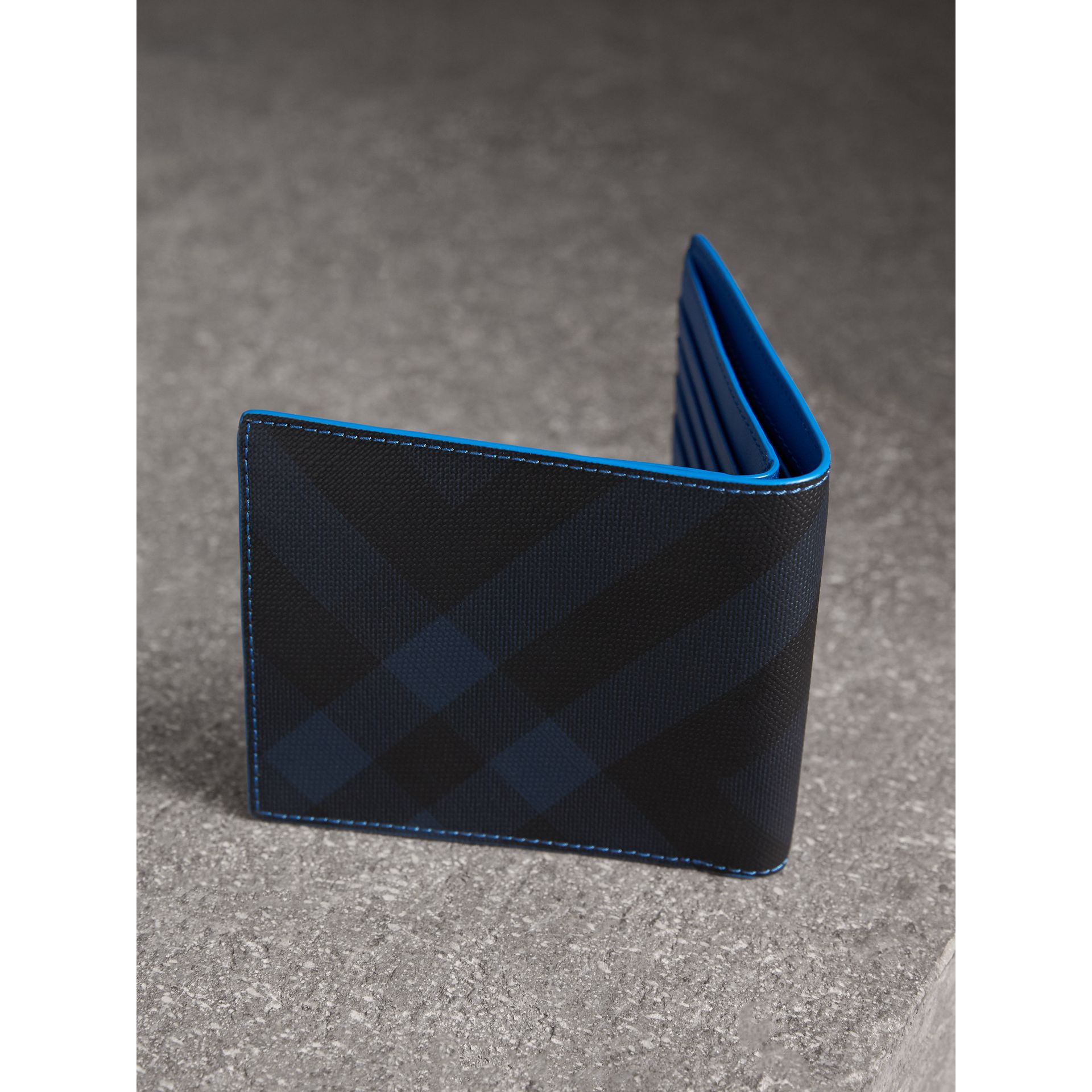 London Check and Leather International Bifold Wallet in Navy/ Blue - Men | Burberry - gallery image 3