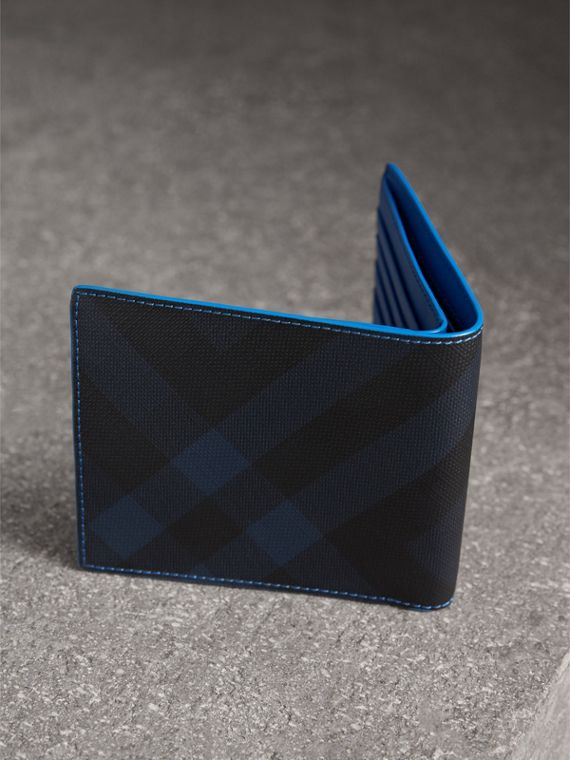 London Check and Leather International Bifold Wallet in Navy/ Blue - Men | Burberry - cell image 2
