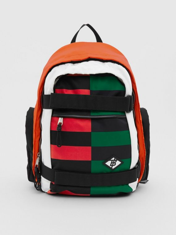 Large Colour Block ECONYL® Nevis Backpack in Military Red/green