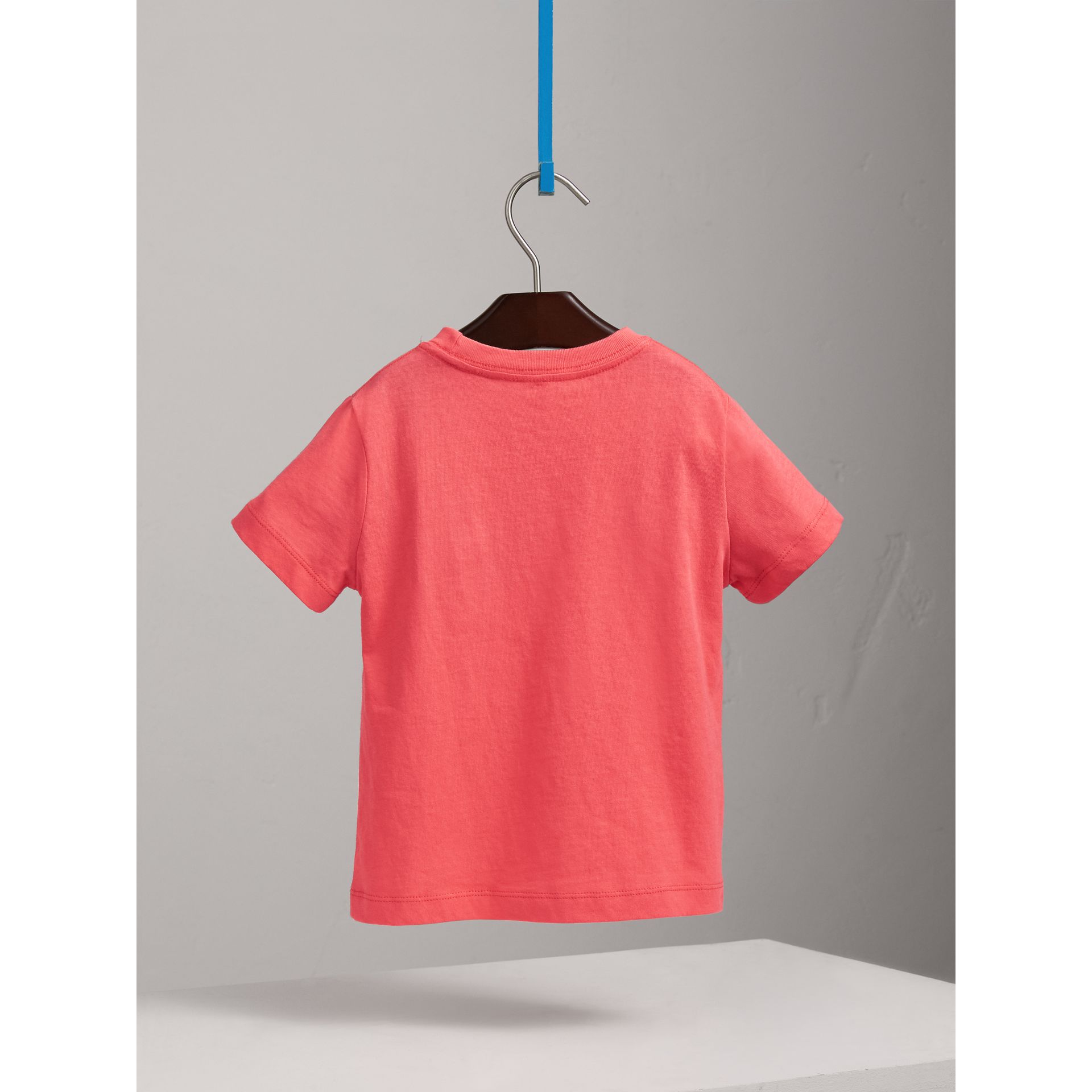 Check Pocket Cotton T-shirt in Bright Coral Pink - Children | Burberry - gallery image 3