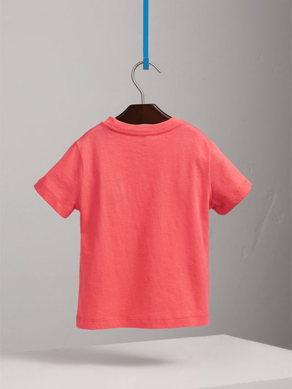 Check Pocket Cotton T-shirt in Bright Coral Pink - Children | Burberry - cell image 3