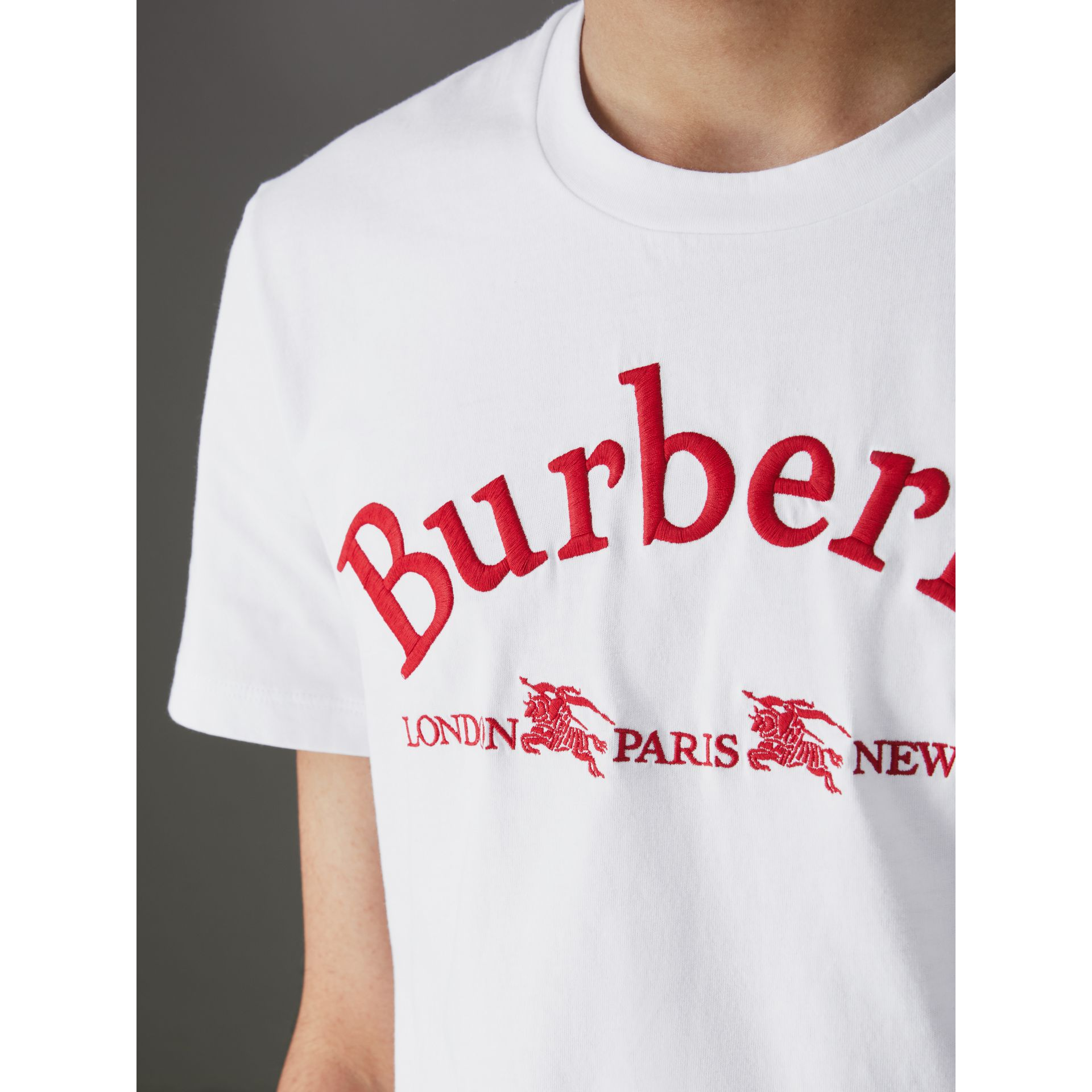 Archive Logo Cotton T-shirt in White - Men | Burberry United Kingdom - gallery image 1