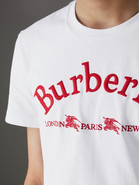 Archive Logo Cotton T-shirt in White - Men | Burberry United Kingdom - cell image 1