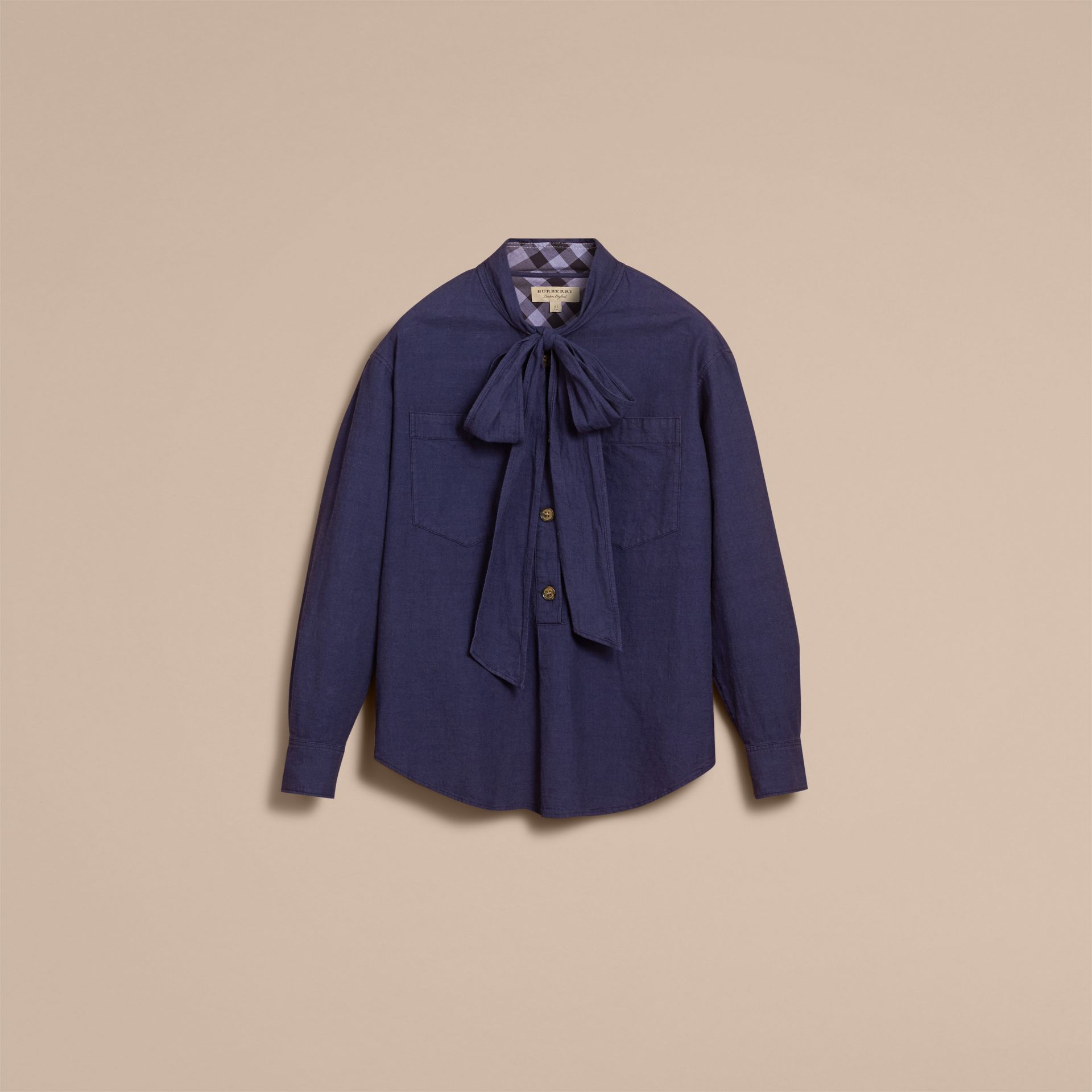 Neck Tie Cotton Chambray Shirt - gallery image 4