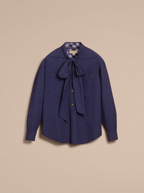 Neck Tie Cotton Chambray Shirt - cell image 3