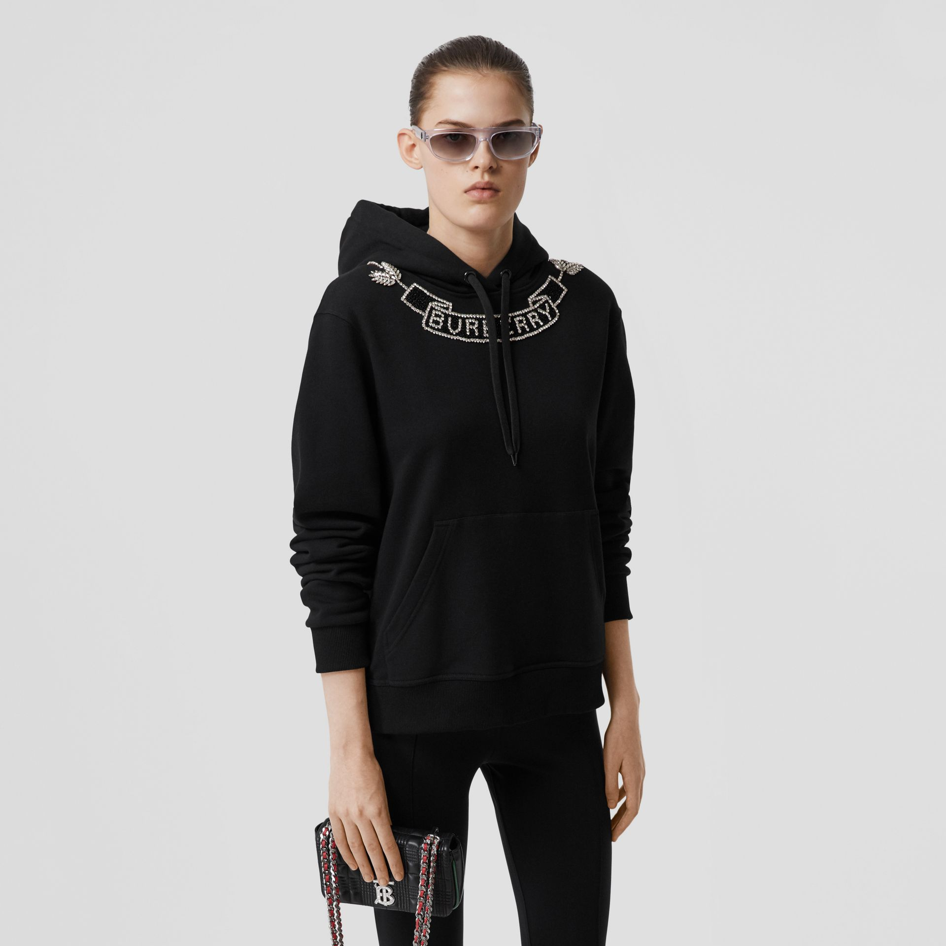 Embellished Cotton Oversized Hoodie in Black - Women | Burberry - gallery image 5