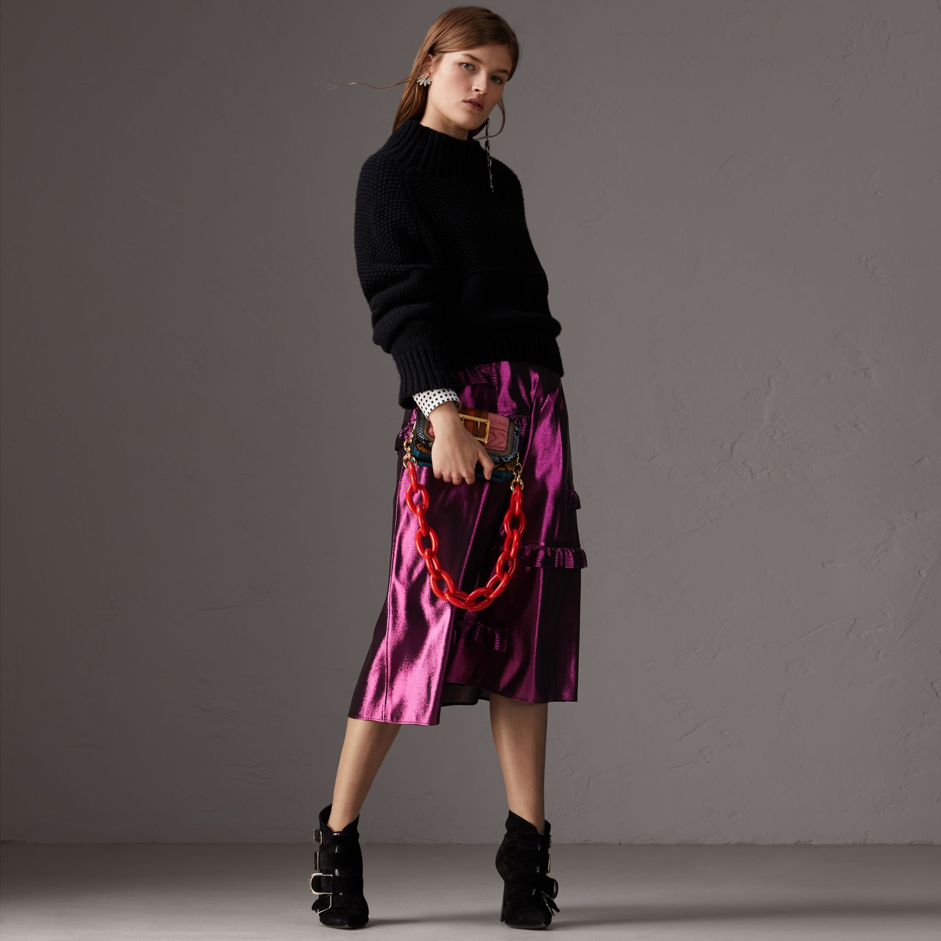 Ruffle Detail Lamé Skirt in Bright Fuchsia - Women | Burberry - gallery image 1