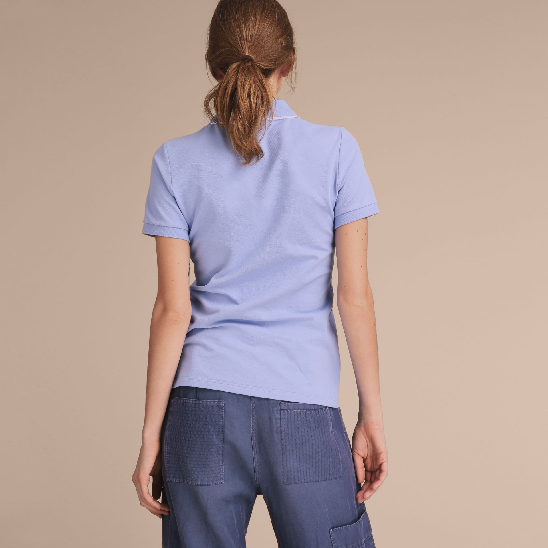 Lace Trim Cotton Blend Polo Shirt with Check Detail in Pale Cornflower Blue - Women | Burberry - gallery image 3