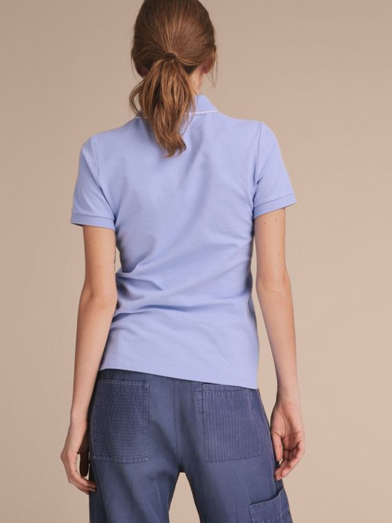 Lace Trim Cotton Blend Polo Shirt with Check Detail in Pale Cornflower Blue - Women | Burberry - cell image 2