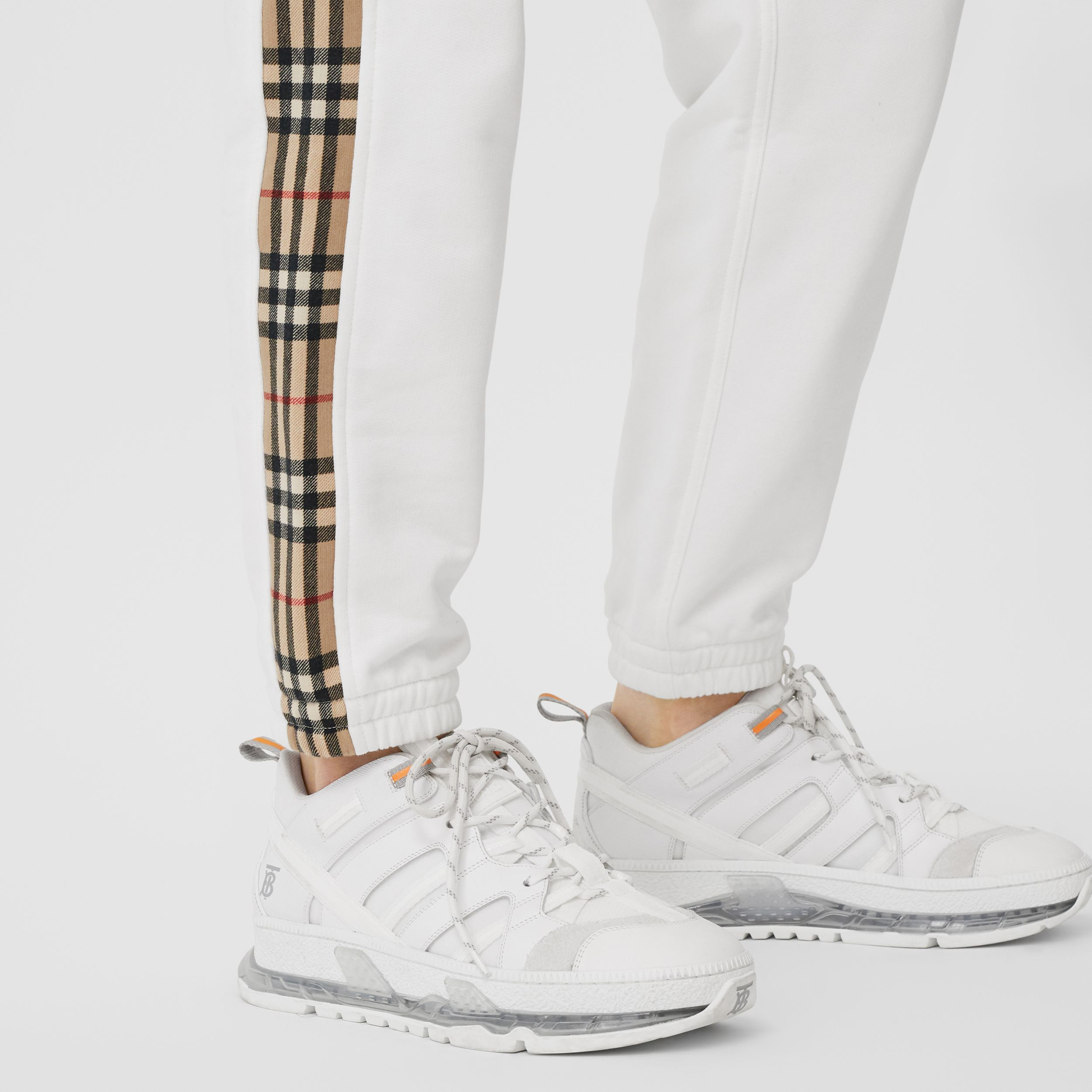 Vintage Check Detail Cotton Jogging Pants in White - Women | Burberry - 2